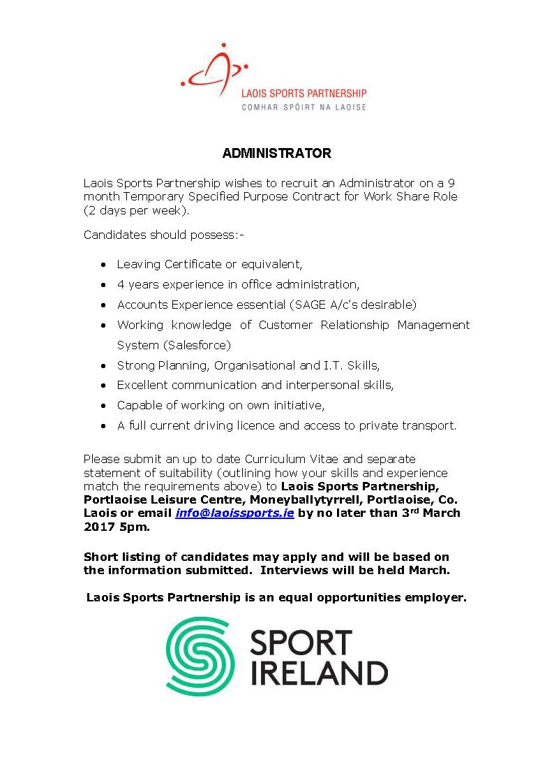 specified purpose contract for administrator laois sports specified purpose contract for administrator laois sports partnership
