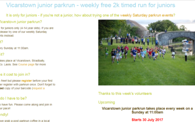 Junior Parkrun Coming to Vicarstown 30th July 2017