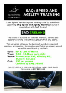 SAQ: Speed and Agility Training @ Presentation Hall, | County Laois | Ireland