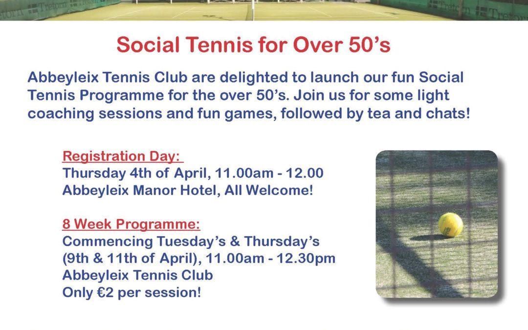 Social Tennis for Over 50's