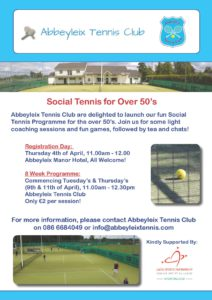 Social Tennis for Over 50's @ Abbeyleix Tennis Club