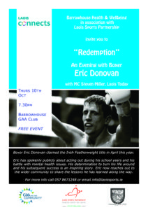 """Redemption"" An evening with Boxer Eric Donovan @ Barrowhouse GAA Club"
