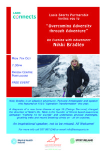 "Laois Connects ""Overcoming Adversity through Adventure"" An Evening with Nikki Bradley @ Portlaoise Parish Centre"